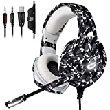 ONIKUMA Gaming Headset -PS4 Headset with 7.1 Surround Sound, Noise Canceling Earpads & Mic, Soft Memory Earmuff for PS4, Xbox One, PC,Gamecube ,Nintendo 64 (Adapter Not Included)