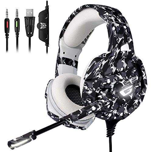 Xbox One Gaming Headset - ONIKUMA Xbox One Headphone with 7.1 Surround Sound,Noise Canceling Earpads & Mic, Soft Memory Earmuff for Xbox One PS4 Controller PS2 Nintendo Switch