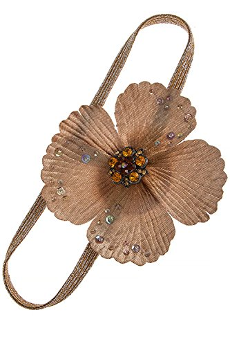 KARMAS CANVAS CRYSTAL STUDDED LARGE FLOWER HEADBAND (Pale Brown) Avon Brown Necklace