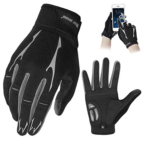WESTGIRL Full Finger Cycling Gloves for Men Women, Touch Screen Silicone Gel Pad Shock-Absorbing Anti-Slip Breathable Sports Gloves for Running, Climbing, Hiking, Training