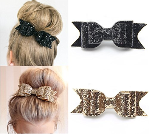 ack Glitter Satin Big Bow Hair Clip Barrette Accessory For Girls and Womens (2 Pack) (Black Glitter Bow)