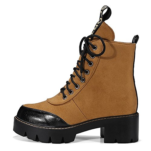 Spring Comfort Leatherette Winter Combat Heel Boots HSXZ Shoes Toe ZHZNVX Round Boots Nubuck Chunky Boots Booties Casual for leather Yellow Women's Ankle q4X80