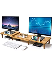 Pezin & Hulin Bamboo Dual Monitor Stand Riser for Desk Organizer, Adjustable Length and Angle Multi(1/2/3) Screen Stand, Office Wood Desktop Stand Storage for Computer, Laptop, PC, Printer, Notebook