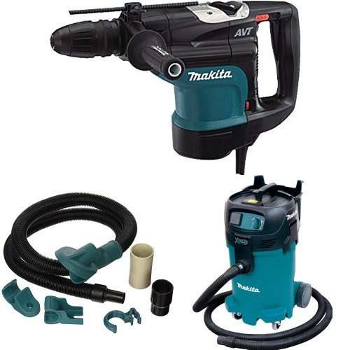 Makita HR4510C 1-3/4-Inch AVT Rotary Hammer, 196571-4 Dust Extraction Attachment, VC4710 12 Gallon Xtract Vac Wet/Dry Dust Extractor/Vacuum