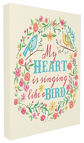 Stupell Home Décor My Heart Is Singing Like A Bird Floral Graphic Canvas Art, 16 x 1.5 x 20, Proudly Made in USA - Bird Giclee Canvas