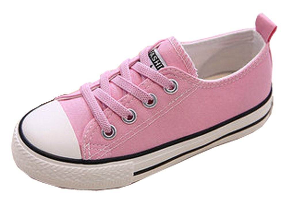 VECJUNIA Boys Girls Classic Solid Color Wide Toe Lace Sneakers School Sport Canvas Shoes Pink 10.5 M US Little Kid
