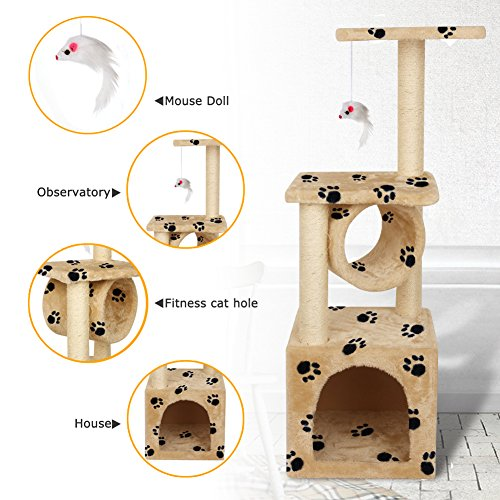 Yohoz 36in Deluxe Faux Fur Level Cat Tree Condo Furniture Climbing Activity Tower Scratching Scratcher Post Kittens Pet Play House and Tunnel Play Toy (Paw) by Yohoz (Image #3)