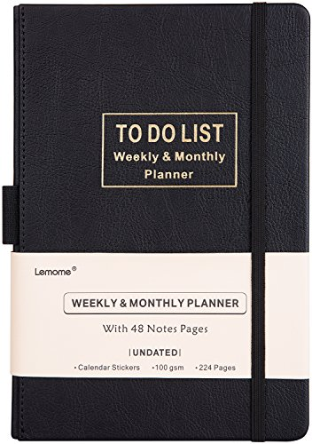 Planner with 2018-2019 Stickers - Academic Weekly, Monthly and Yearly Planner with to-Do List. Thick Paper to Achieve Your Goals, 5.75'' x 8.25'', Back Pocket with 48 Notes Pages - Undated by Lemome