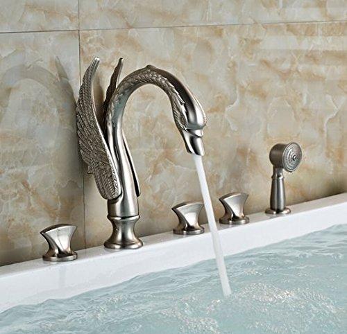 GOWE Luxury Artistic Swan Style Bathtub Faucet Set Deck Mount 5pcs Bath Shower Mixer Tap with Handshower by Gowe (Image #2)