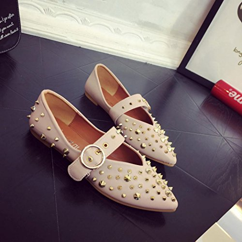 Elevin(TM)Women Summer Fashion Pointed Toe Rivets Leather Flat Flattie Single Ankle Jelly Shoes Pink 3VQwJBw5O