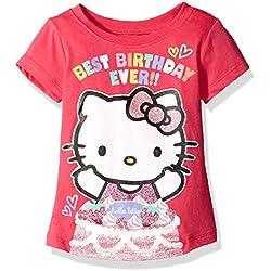 Hello Kitty Girls' Little Girls' Happy Birthday T-Shirt, Fuchsia Pink, 5