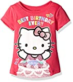 Hello Kitty Little Girls' Toddler Happy Birthday T-Shirt, Fuchsia Purple, 4T