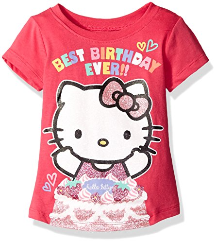 Hello Kitty Little Girls' Toddler Happy Birthday T-Shirt, Fuchsia Purple, 4T (Toddler Purple Character T-shirt)