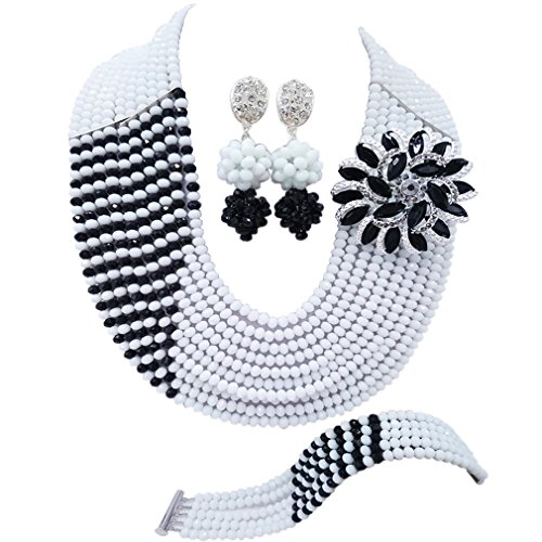 Black And White Costume Jewellery (aczuv 10 Rows Fashion African Wedding Beads Nigerian Beaded Jewelry Set Bridal Party Jewelry Sets (White Black))