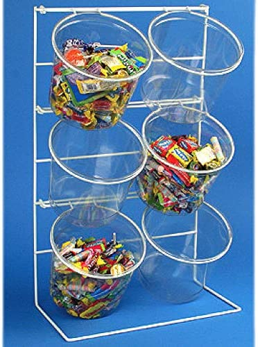 15 x 13.5 x 7.5 4 Pack Retail Counter Top Clear Bucket Display with 5.5 H x 6.6 Dia Jars 4