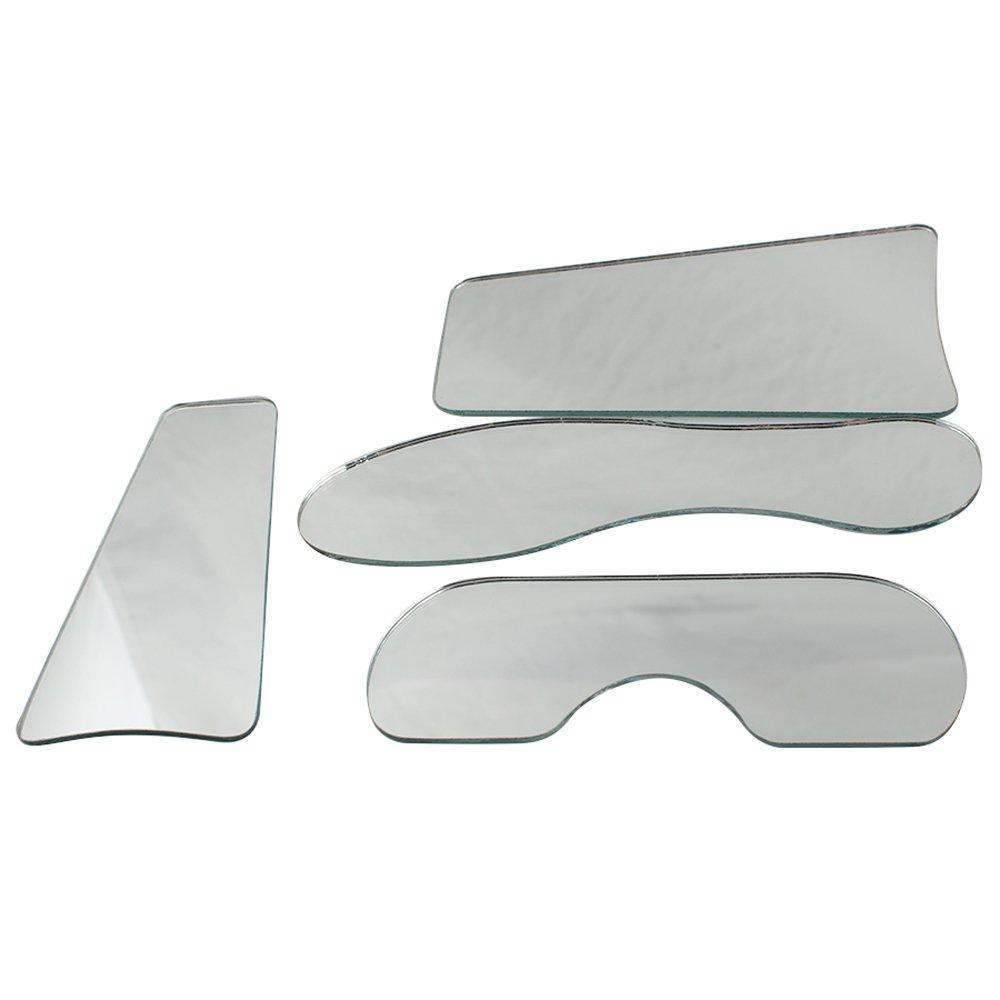 Zorvo 4pcs Dental Orthodontic Mirror Intra-Oral Mirror Single Side Glassed Photographic Mirror Reflecter 4 Different Shape