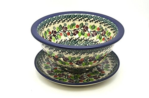 Polish Pottery Berry Bowl with Saucer - Burgundy Berry Green