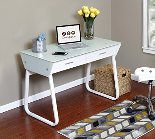 OneSpace Ultramodern Glass Computer Desk With Drawers