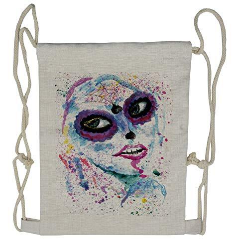 Ambesonne Ethnic Drawstring Backpack, Halloween Lady Make Up, Sackpack Bag