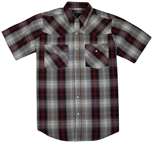 (Canyon Guide Men's Short Sleeve Plaid Western Shirt | Easy Open Snap Front (Large, Burgundy (811)))