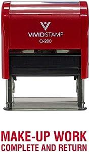 Make-Up Work Complete and Return Teacher Self Inking Rubber Stamp (Red Ink) - Medium