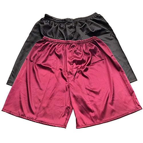 Tony & Candice Men's Satin Boxers Shorts Combo Pack Underwear (Black + Burgundy (2-Pack), XXL)