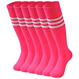 Knee High Socks, saounisi Dress Woman Colorful Stripe Football Soccer Sports Tube Long School Uniform Socks New Year Gifts 6 Pairs Rose Red