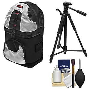 Precision Design PD-BP2 Deluxe Sling Digital SLR Camera Backpack Case (Black/Silver) + Tripod + Cleaning Kit for Canon, Nikon, Olympus, Panasonic, Fuji & Sony Alpha Cameras