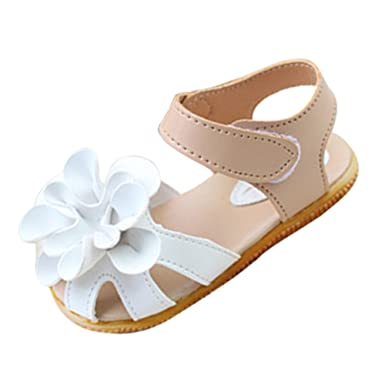 SODIAL(R) White Summer Style Kids Shoes Girls Leather Sandals Children  Casual Floral Beach