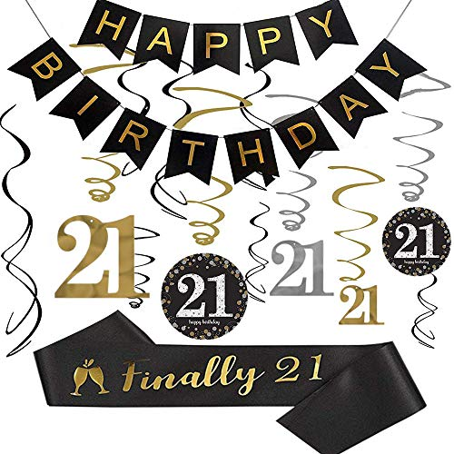 21 Party Decorations (21st Birthday Party Decorations kit, 21st Birthday Gifts for Her/Him, Happy 21st Birthday Banner, Sparkling Celebration 21 Hanging Swirls,