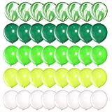 DIvine 40 Pcs 12 Inch Green Balloons Set, Green Agate Marble Balloons, Assorted Green and White Latex Balloons for Wild One, Jungle, Animal, Dinosaur Birthday Party Decoration, Backdrop, Balloon Arch