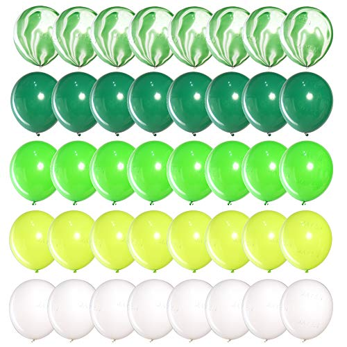 DIvine 40 Pcs 12 Inch Green Balloons Set, Green Agate Marble Balloons, Assorted Green and White Latex Balloons for Wild One, Jungle, Animal, Dinosaur Birthday Party Decoration, Backdrop, Balloon Arch]()