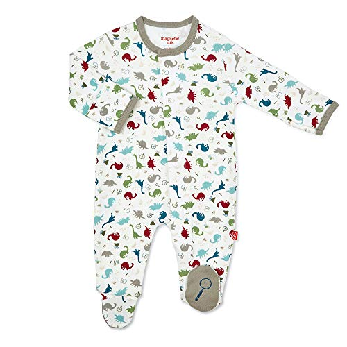 Magnificent Baby Boys and Unisex Magnetic Fastener Cotton Footie Pajamas