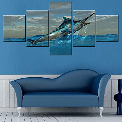 Canvas Art Wall Decor Blue Marlin Bursts from Ocean Waters Pictures for Living Room Contemporary Paintings 5 Panel Prints Artwork House Decorations Framed Stretched Ready to Hang(50''W x 24''H)