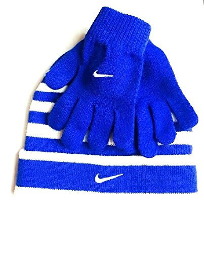 Nike Swoosh Cuff Style Striped Knit Beanie Skull Cap & Gloves Set Boys 8/20 Game Royal