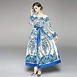 فستان ماكسي كاجوال للنساء من واي اند دي - ابيض/ازرق