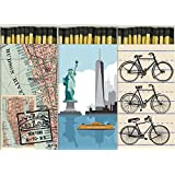 Decorative Match Boxes New York Bicycles with Long Kitchen Matches Great for Lighting Candles, Grills, Fireplaces and More | Set of 3 Large Match Boxes