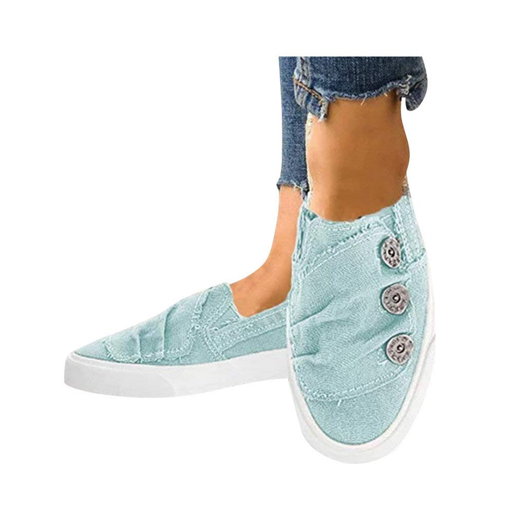 Dressin Women Loafers Vintage Outdoor Shoes Round Toe Flat Heel Casual Walking Shoes Cowboy Canvas Fashion Sneaker Blue