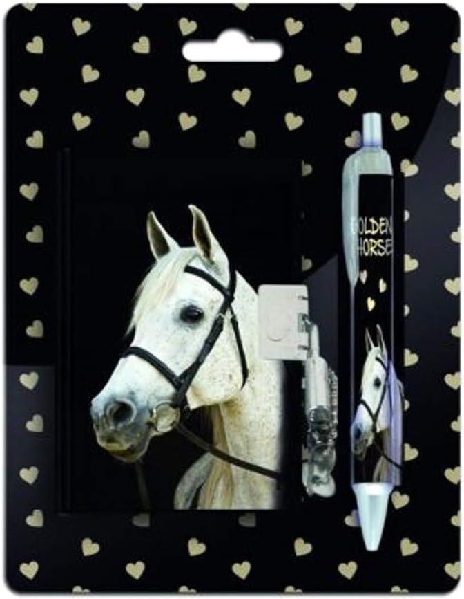 Set de escritura para niñas, regalo para el comienzo de la escuela, diario encuadernado, libro de guardería con cerradura, llave y bolígrafo, diseño de caballo (multicolor)
