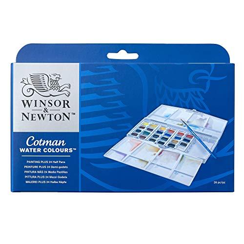 - Winsor & Newton Cotman Water Colour Painting Plus Set, Set of 24, Half Pans