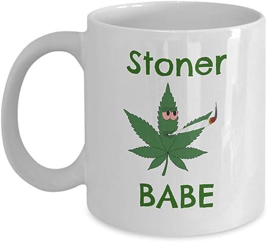 Marijuana Leaf Mug Funny Gift for Stoner Girl Girlfriend, Black Coffee Cup