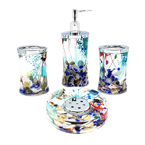 (EUMAT Ocean Series Bathroom Organizer Set Acrylic 4 PCS Bathroom Washing Accessory Set With Blue Glass And Sea Shell)