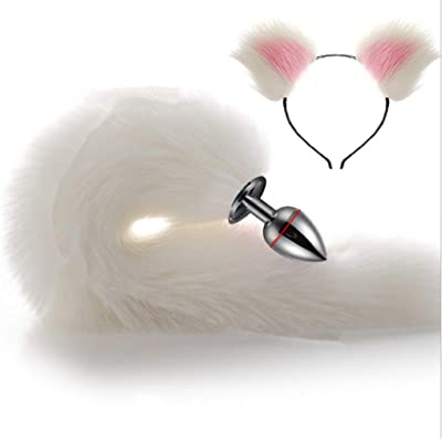 White Three Sizes Fluffy Faux Fox Tail & Cat Ears Headband Charms Role Play Costume Party Masquerade Cosplay Prop (White & Pink, L) : Office Products