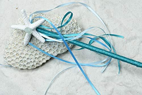 - Teal Starfish Mermaid Wand - Handmade Mermaid Wand Made with Colorful Ribbons, Starfish and Genuine Sea Glass