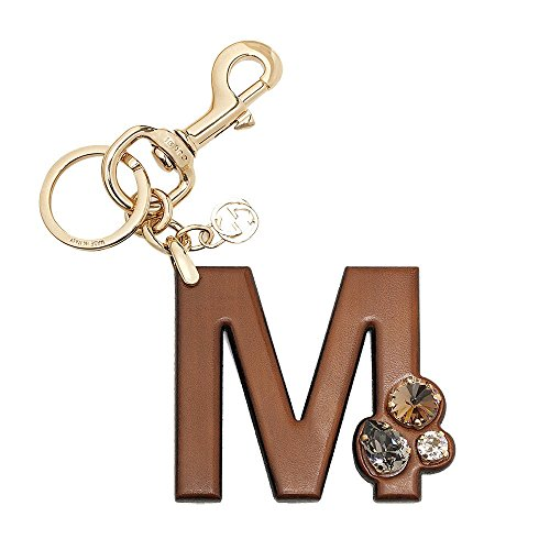 Gucci 'M' Brown Leather Key Ring Handbag Charm with Swarovski Crystals 369488 by Gucci