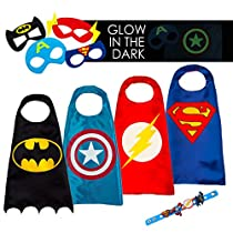 LAEGENDARY Super Hero Capes for Kids Toys – Dress up Clothes for Boys – Superhero Party Supplies Birthday – 4 Kids Costumes with Glowin The Dark Captain America Logo