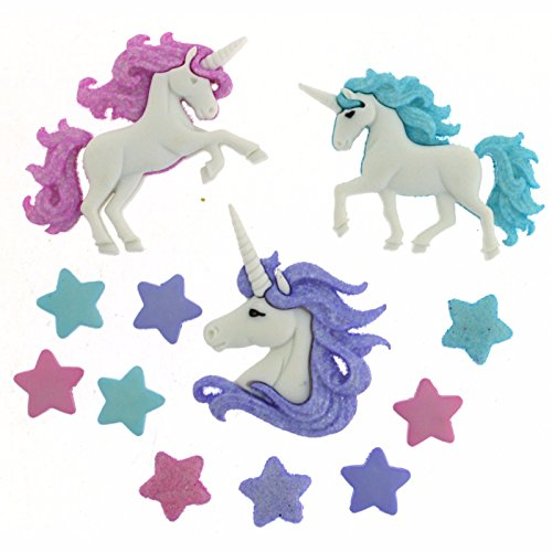 Jesse James Buttons, Dress It Up, MAGICAL UNICORNS pkg Craft Sewing Buttons