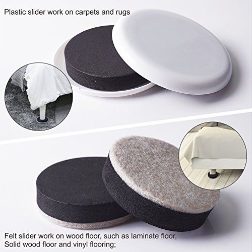 Furniture Sliders Moving Kit & Corner Guards for Carpeted and Hard Floor Surfaces Felt Pads Suitable For All The Furniture Sliders (20 Piece) by FittiDoll (Image #3)