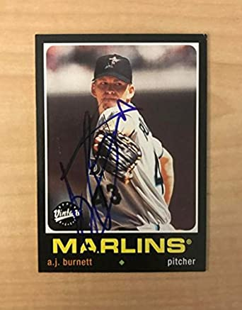 6243b81fb52 A.J. BURNETT FLORIDA MARLINS SIGNED AUTOGRAPHED 2002 UPPER DECK CARD  214  W COA