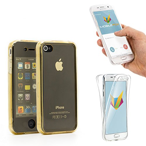Mobilefox Full Case Silikon Hülle Display Schutz Tasche Apple iPhone 4/4S Gold